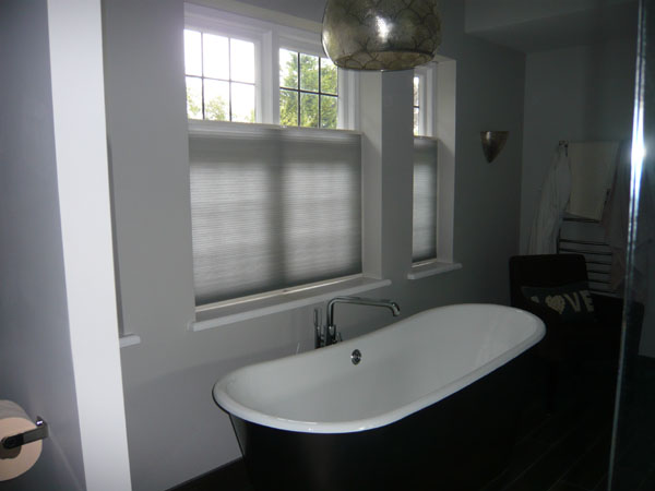 Grey Bottom Up Luxaflex Duette blinds for bathroom privacy