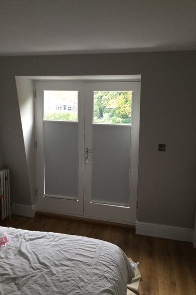 Top Down Bottom Up Luxaflex Nano blinds for privacy and darkness on Juliet balcony doors