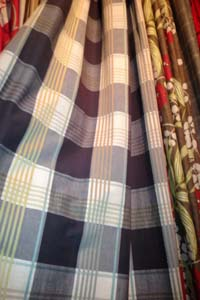 Interlined door curtain in Designer Fabric - Romo Tiverton