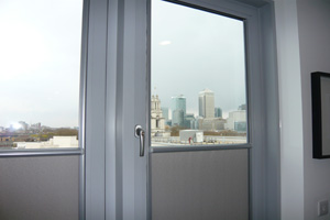 Nano blinds installed in a new apartment overlooking Canary Wharf in Doclands, East London