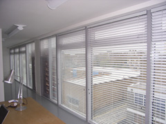 50mm aluminium venetians fitted in a modern studio in hackney
