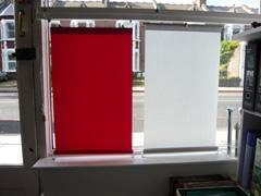 shop display of bottom up blinds showing different systems Highgate