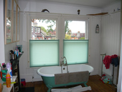 bottom up roller blinds in a bathroom Crouch End