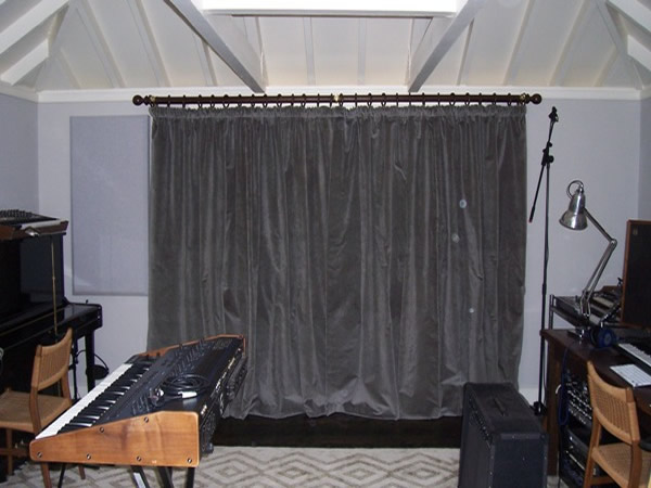 Acoustic curtains fitted in a sound studio in Hampstead, North London