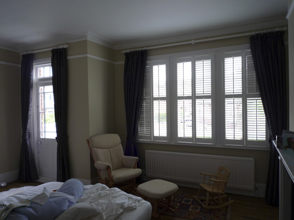 50mm white wood pole, Harlequin blackout curtains and shutters