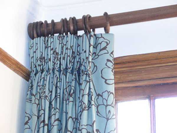 pinch pleats, pole and recess bracket, romo fabric