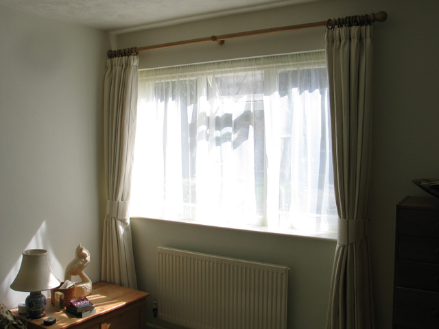 Curtains on a wooden pole