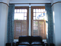 Cedarwood shutters, romo fabric Hornsey