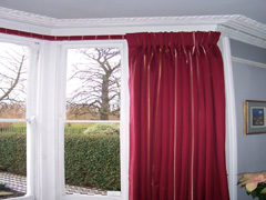 Pinch pleat curtain on covered fascia or covered lath Stamford Hill