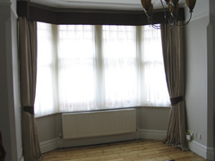 simple contrast pelmet links linen curtains Finchley