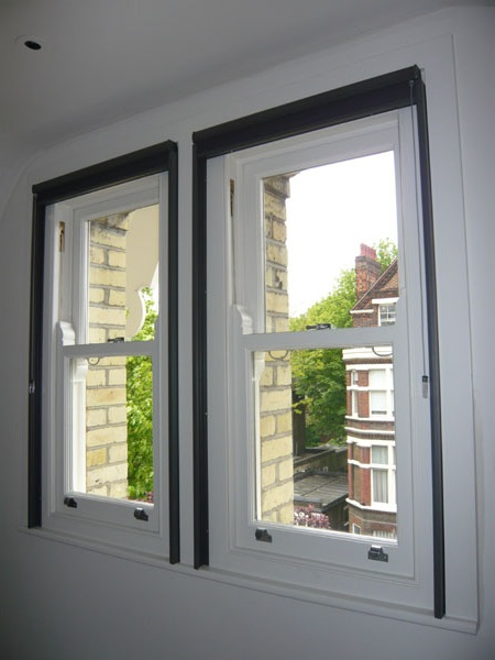 duette blinds fitted with side channels - blinds raised