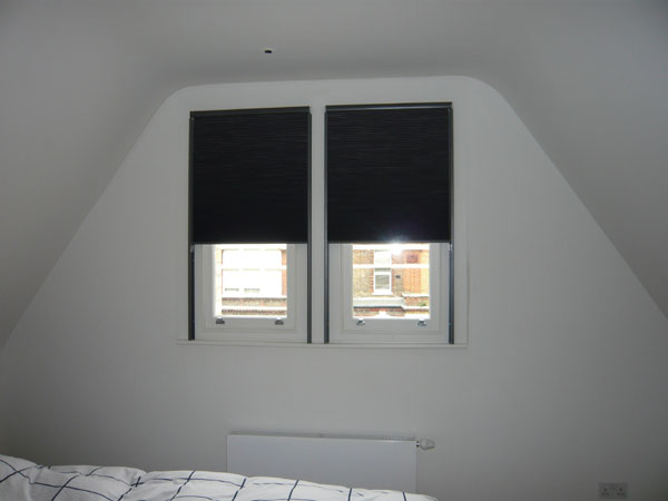 duette blinds with side channels half lowered