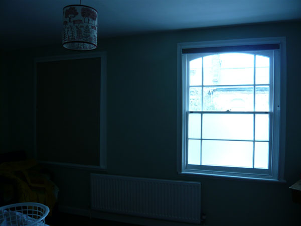 a pair of blackout duette blinds with side channels - one up one down, no flash