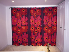 Marimekko flowers, bright and cheerful, interlined and blackout Hampstead Garden Suburb