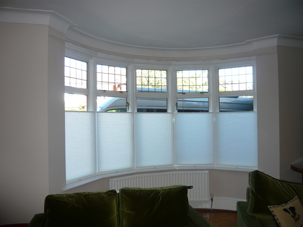Bottom Up - Top Down Luxaflex duette blinds fitting in North London by Changing Curtains