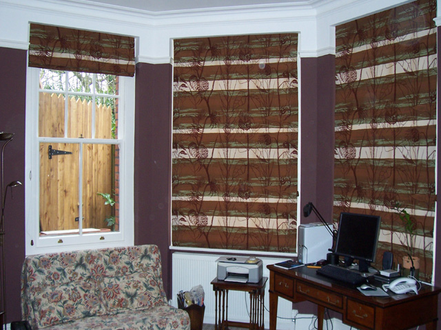 Roman blinds in discontinued fabric
