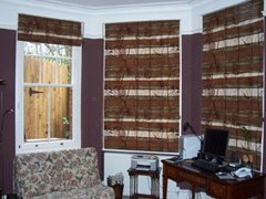 roman blinds made from clients curtains in discontinued fabric Hampstead