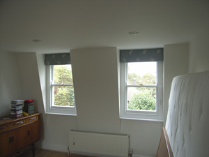 blackout roman blinds on dormer windows Crouch End
