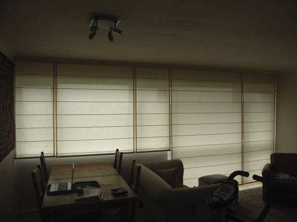 Wall of roman shade blinds