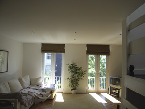 roman blinds on tall patio doors Swiss Cottage