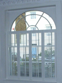 MDF silk white shutters with 47mm louvres Islington