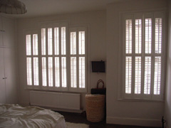 Silk white shutters with 47mm louvres Hampstead