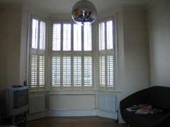 Pearl shutters 47mm louvres, tier on tier Finchley
