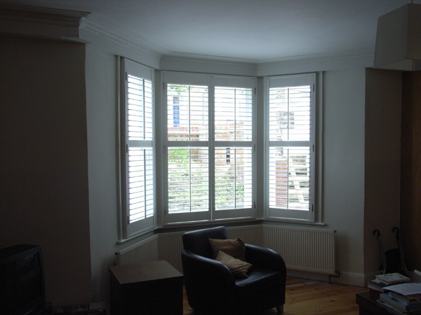 Silk white shutters with 63mm louvres