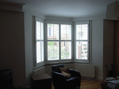 Silk white shutters with 63mm louvres Tufnell Park