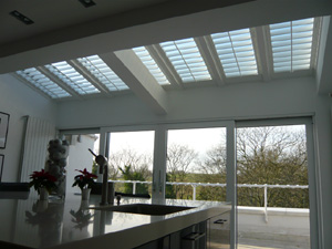 Roof shutters with 89mm louvres for shade and light Parliament Hill