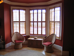 Oiled western red cedsr shutters fitted in muswell hill
