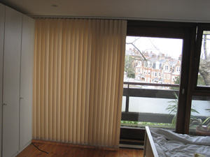 Vertical blind with Left-Hand Stack and Right-Hand control installed in Highgate North London