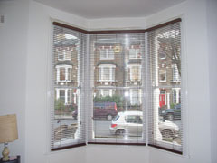 35mm auburn woodslats at bay window Tufnell Park