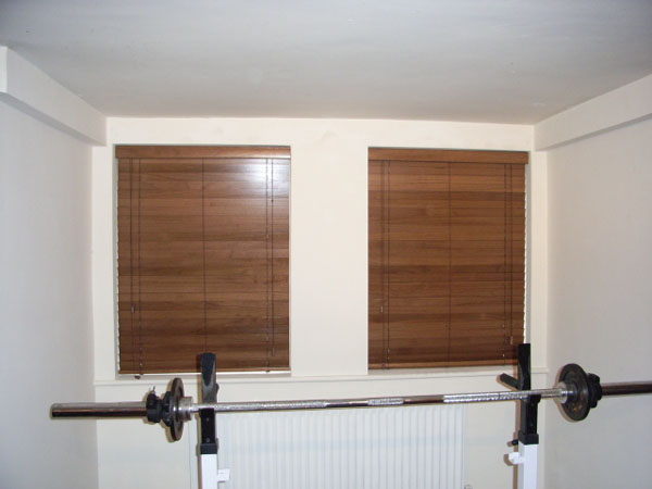 A pair of 50mm wood slat venetians