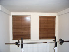 A pair of 50mm wood slat venetians Crouch End