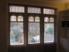 three individual 50mm woodslat blinds Palmers Green