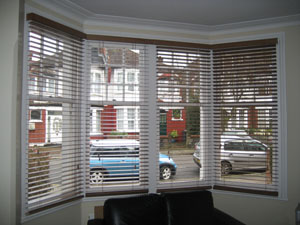 50mm auburn wooden venetian blinds fitted in Palmers Green, North London