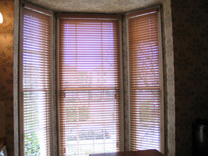 Natural Cedarwood venetian blinds installed in Camden, North London