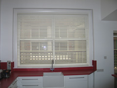 50mm white woodslat in kitchen Muswell Hill